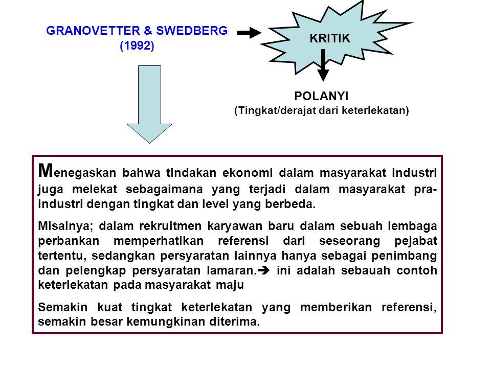 GRANOVETTER & SWEDBERG (1992) KRITIK POLANYI (Tingkat/derajat dari keterlekatan) M enegaskan bahwa tindakan ekonomi dalam masyarakat industri juga mel