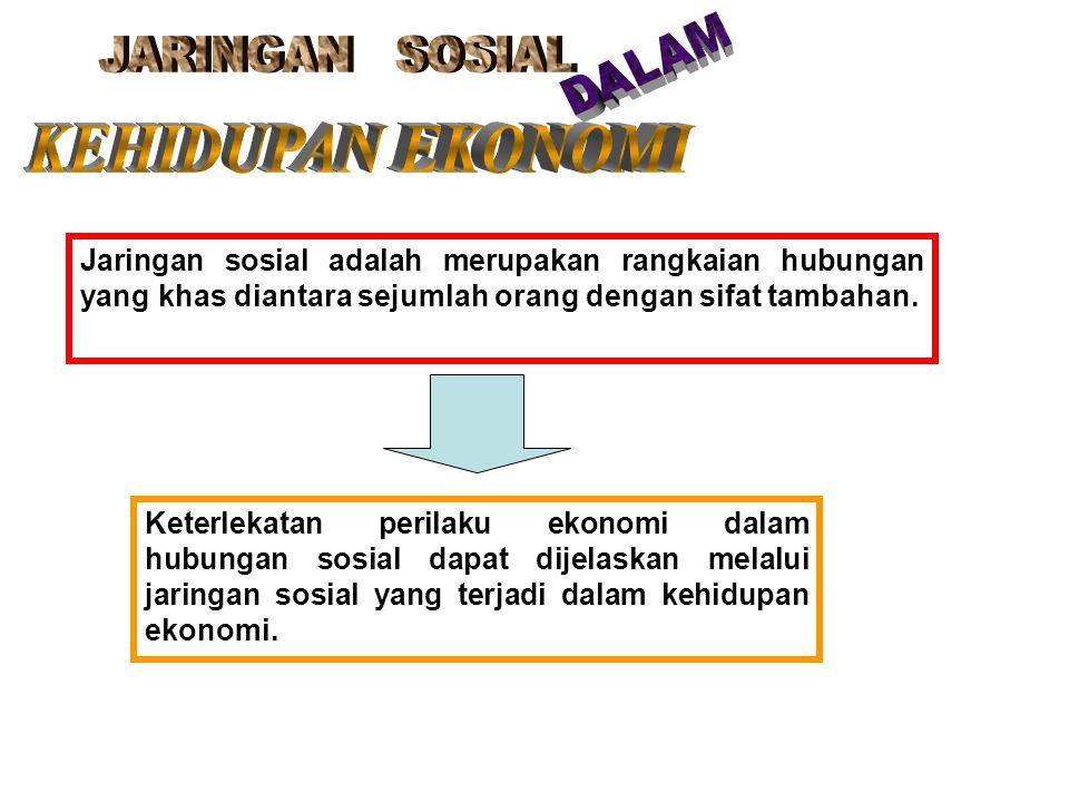 Jaringan sosial adalah merupakan rangkaian hubungan yang khas diantara sejumlah orang dengan sifat tambahan. Keterlekatan perilaku ekonomi dalam hubun