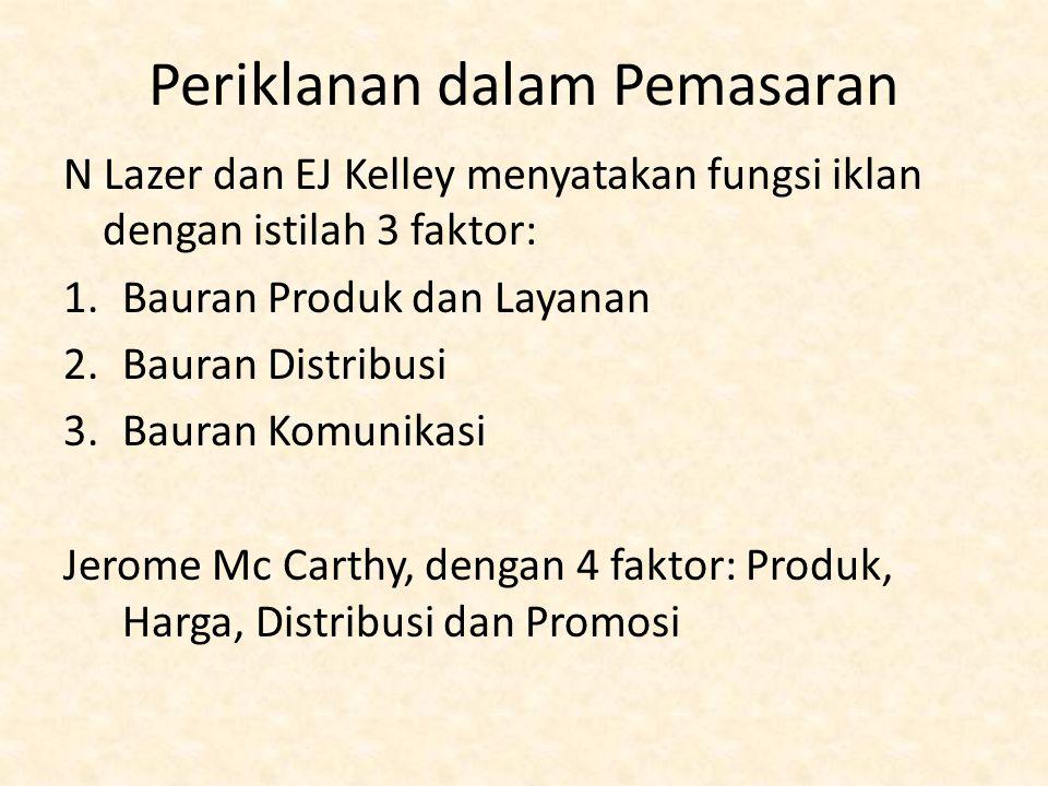 Periklanan dalam Pemasaran N Lazer dan EJ Kelley menyatakan fungsi iklan dengan istilah 3 faktor: 1.Bauran Produk dan Layanan 2.Bauran Distribusi 3.Bauran Komunikasi Jerome Mc Carthy, dengan 4 faktor: Produk, Harga, Distribusi dan Promosi