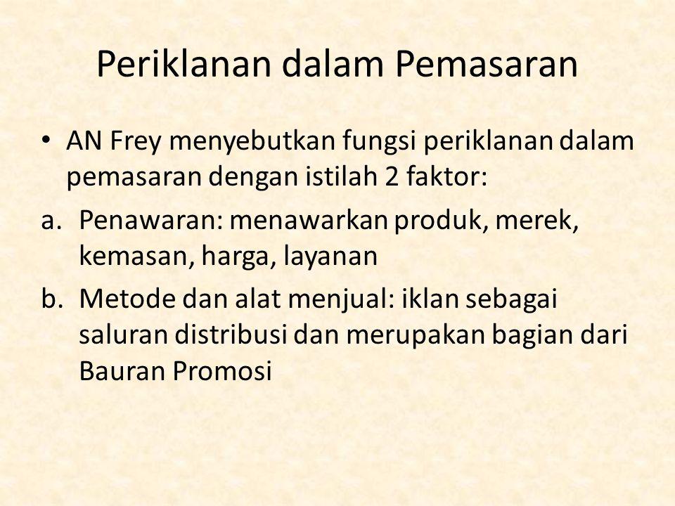 Periklanan dalam Pemasaran AN Frey menyebutkan fungsi periklanan dalam pemasaran dengan istilah 2 faktor: a.Penawaran: menawarkan produk, merek, kemas
