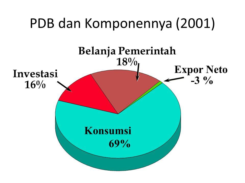 PDB dan Komponennya (2001) Konsumsi 69% Belanja Pemerintah 18% Expor Neto -3 % Investasi 16%