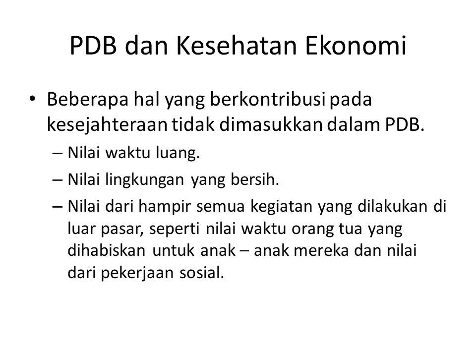 PDB dan Kesehatan Ekonomi Beberapa hal yang berkontribusi pada kesejahteraan tidak dimasukkan dalam PDB. – Nilai waktu luang. – Nilai lingkungan yang