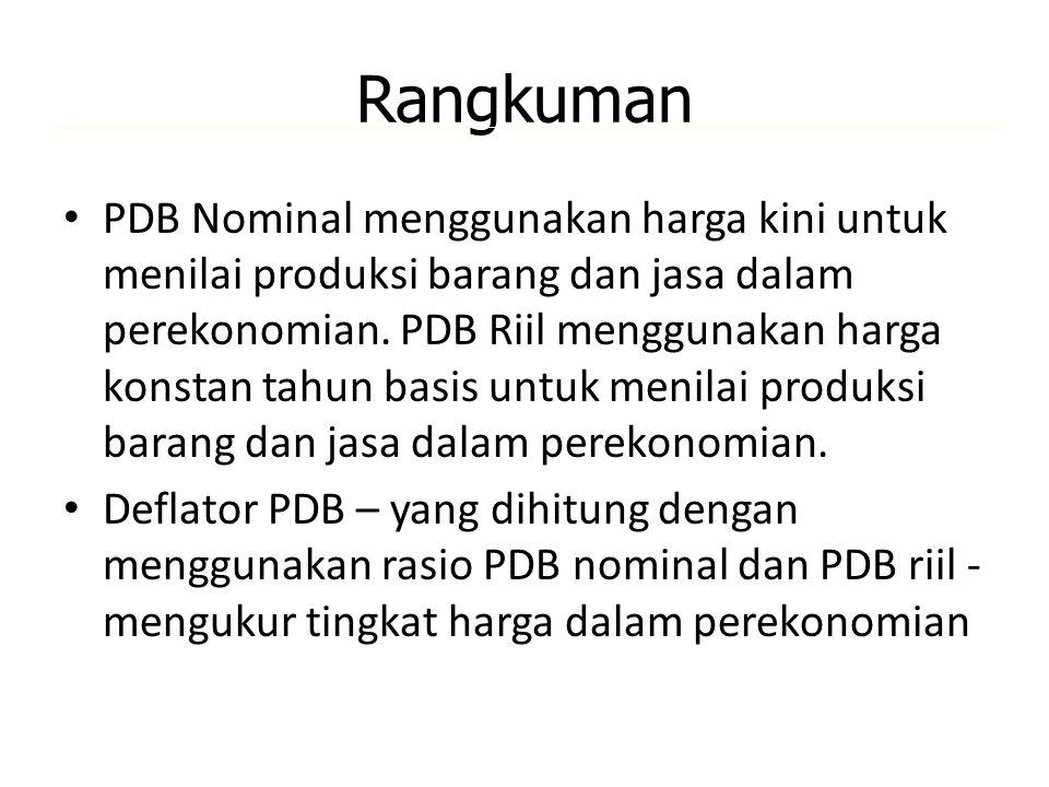 Rangkuman PDB Nominal menggunakan harga kini untuk menilai produksi barang dan jasa dalam perekonomian. PDB Riil menggunakan harga konstan tahun basis