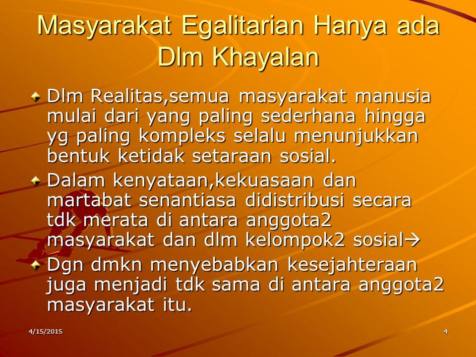 Masyarakat Egalitarian Hanya ada Dlm Khayalan Dlm Realitas,semua masyarakat manusia mulai dari yang paling sederhana hingga yg paling kompleks selalu
