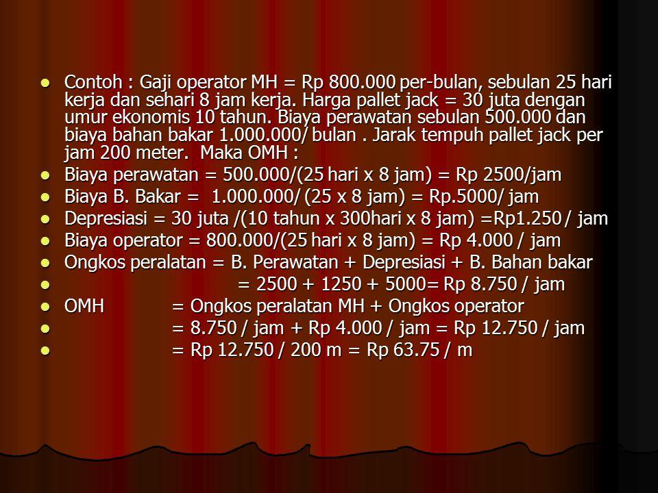 Contoh : Gaji operator MH = Rp 800.000 per-bulan, sebulan 25 hari kerja dan sehari 8 jam kerja. Harga pallet jack = 30 juta dengan umur ekonomis 10 ta