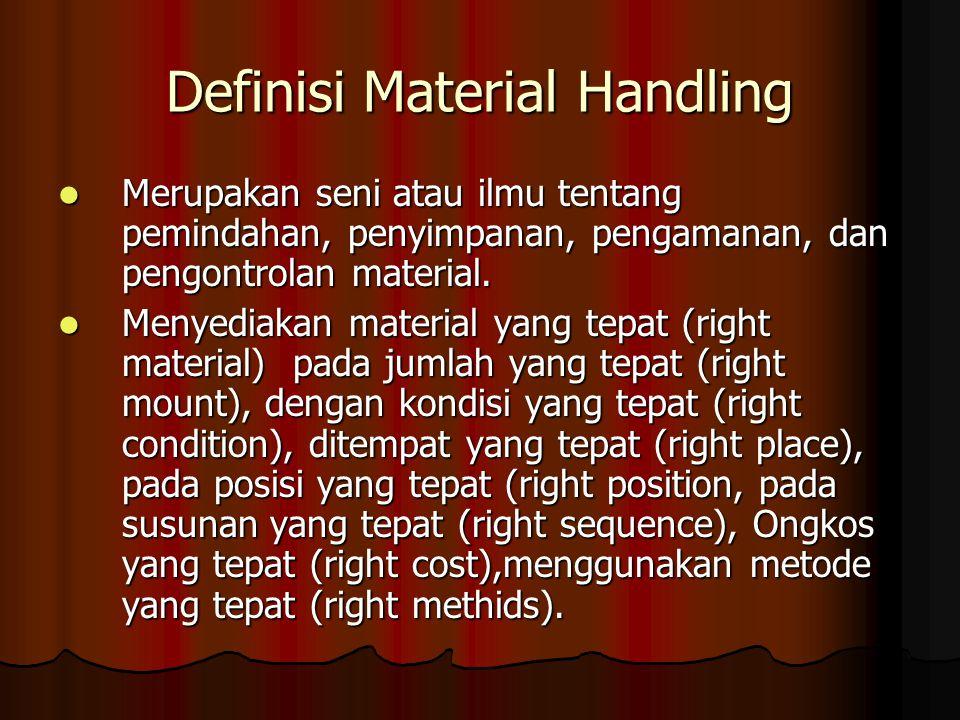 Definisi Material Handling Merupakan seni atau ilmu tentang pemindahan, penyimpanan, pengamanan, dan pengontrolan material. Merupakan seni atau ilmu t