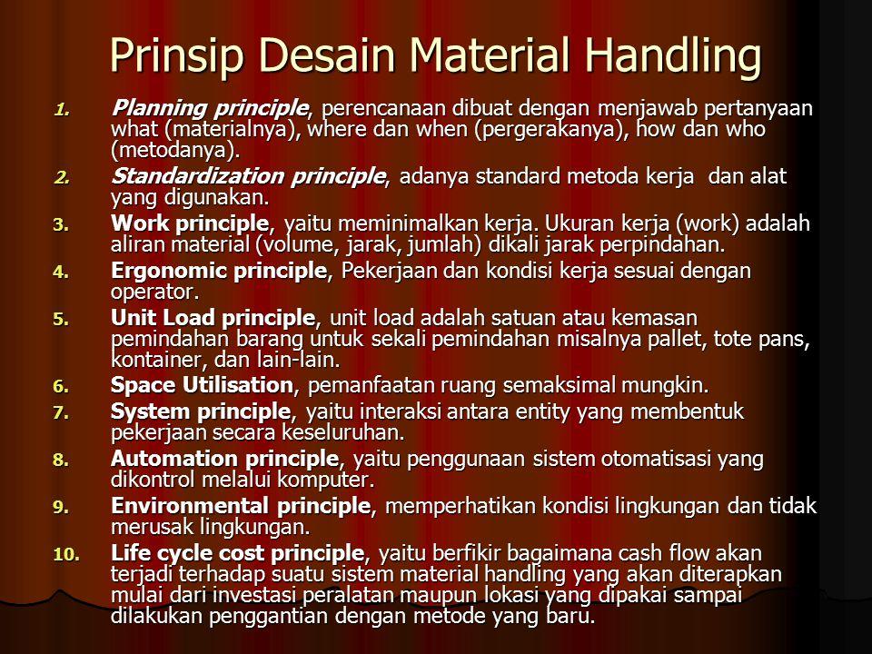Prinsip Desain Material Handling 1. Planning principle, perencanaan dibuat dengan menjawab pertanyaan what (materialnya), where dan when (pergerakanya