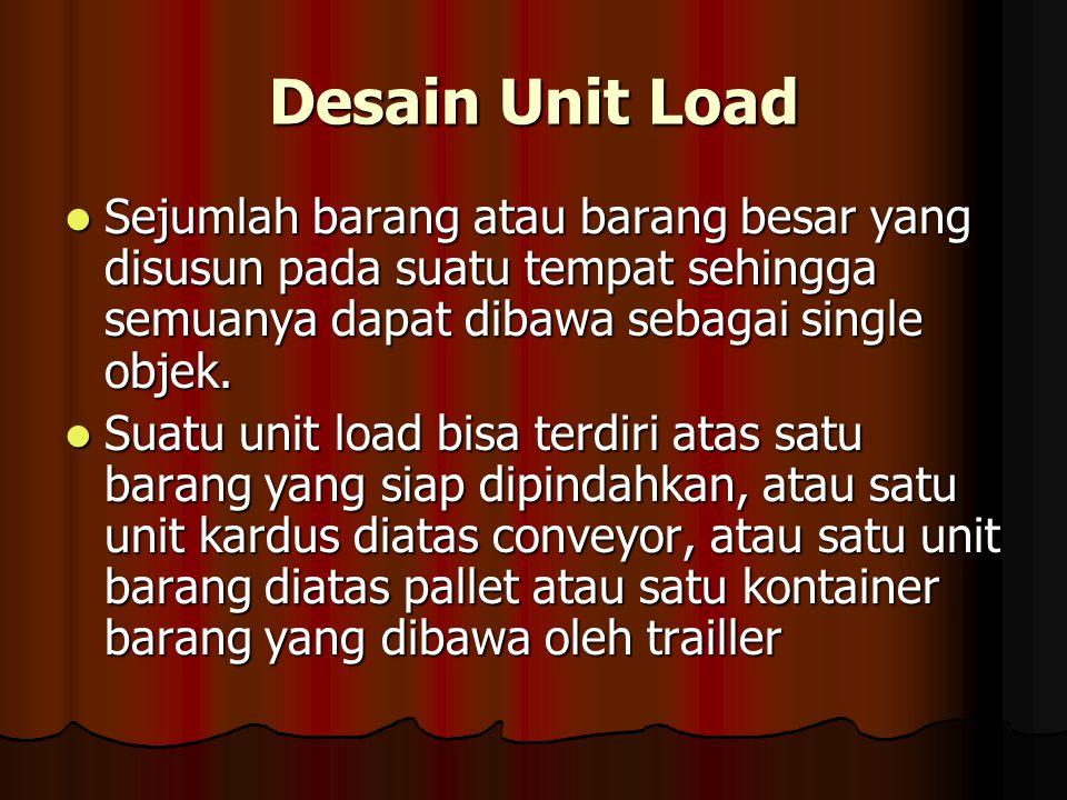 Desain Unit Load Sejumlah barang atau barang besar yang disusun pada suatu tempat sehingga semuanya dapat dibawa sebagai single objek. Sejumlah barang