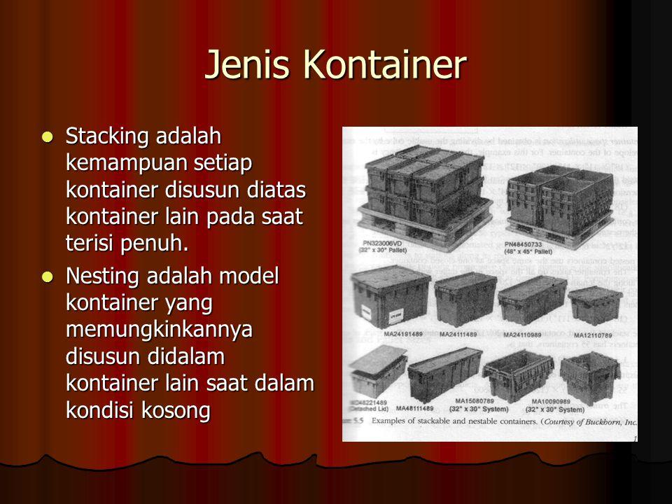 Jenis Kontainer Stacking adalah kemampuan setiap kontainer disusun diatas kontainer lain pada saat terisi penuh. Stacking adalah kemampuan setiap kont