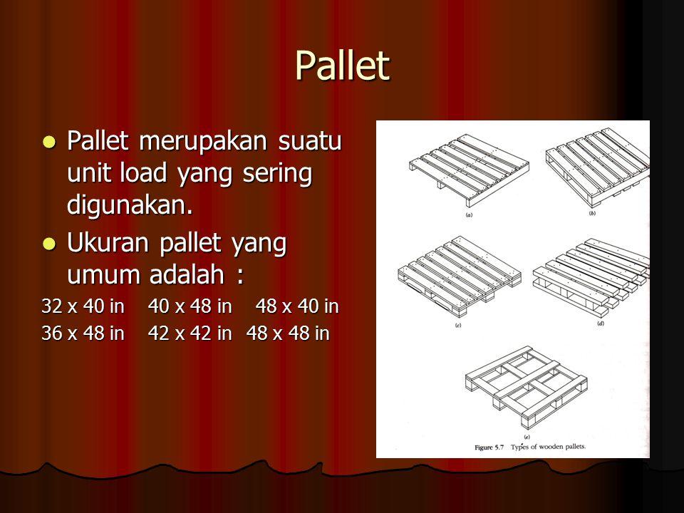 Pallet Pallet merupakan suatu unit load yang sering digunakan. Pallet merupakan suatu unit load yang sering digunakan. Ukuran pallet yang umum adalah