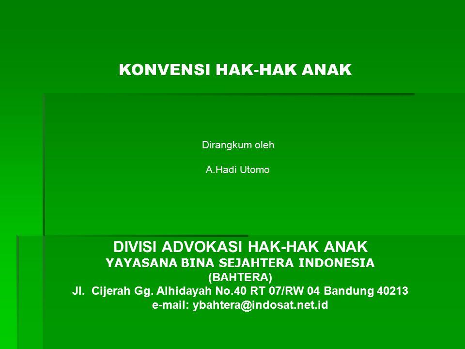 CLUSTER V FAMILY ENVIRONMENT AND ALTERNATIVE CARE (Konvensi Hak Anak) 5.