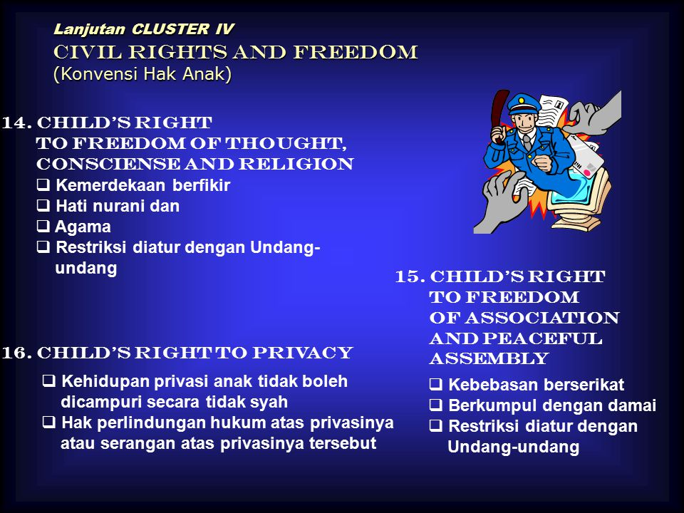Lanjutan CLUSTER IV CIVIL RIGHTS AND FREEDOM (Konvensi Hak Anak) 14. Child's Right to Freedom of Thought, Consciense and Religion  Kemerdekaan berfik