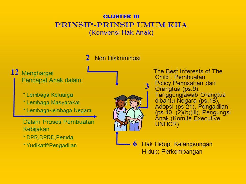 CLUSTER IV CIVIL RIGHTS AND FREEDOM (Konvensi Hak Anak) 7.