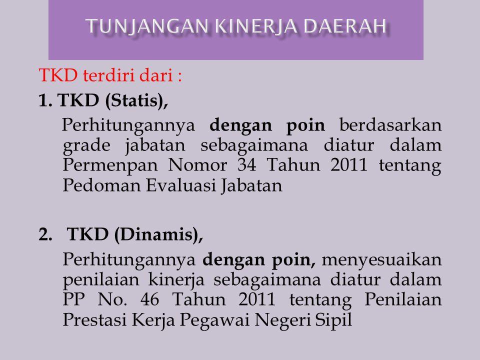 TKD terdiri dari : 1. TKD (Statis), Perhitungannya dengan poin berdasarkan grade jabatan sebagaimana diatur dalam Permenpan Nomor 34 Tahun 2011 tentan