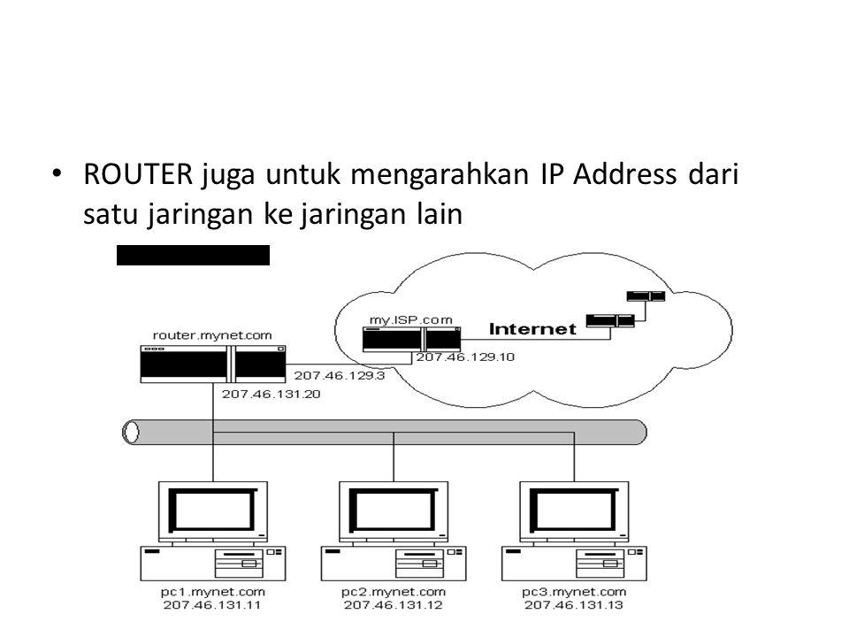 ROUTER juga untuk mengarahkan IP Address dari satu jaringan ke jaringan lain