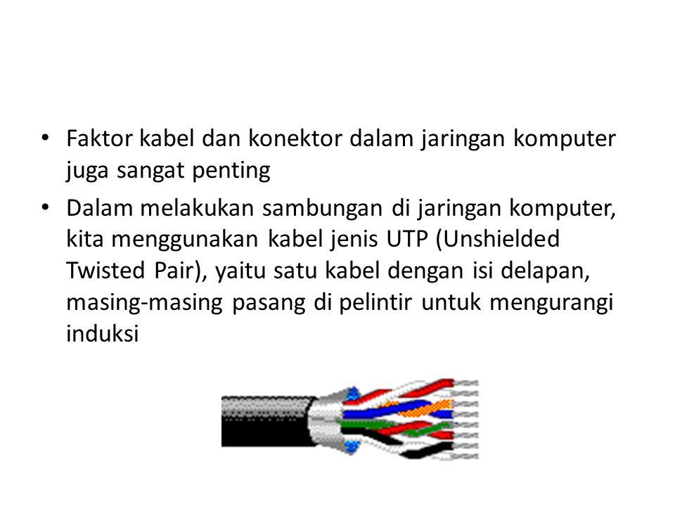 Faktor kabel dan konektor dalam jaringan komputer juga sangat penting Dalam melakukan sambungan di jaringan komputer, kita menggunakan kabel jenis UTP (Unshielded Twisted Pair), yaitu satu kabel dengan isi delapan, masing-masing pasang di pelintir untuk mengurangi induksi