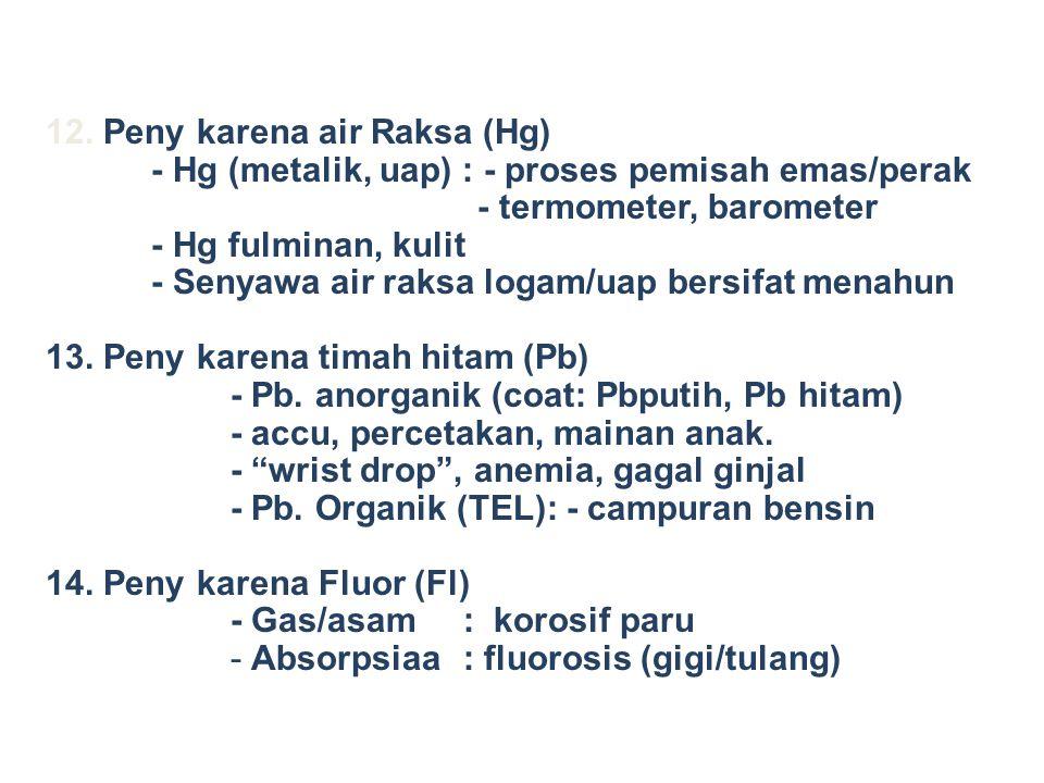 12. Peny karena air Raksa (Hg) - Hg (metalik, uap) : - proses pemisah emas/perak - termometer, barometer - Hg fulminan, kulit - Senyawa air raksa loga