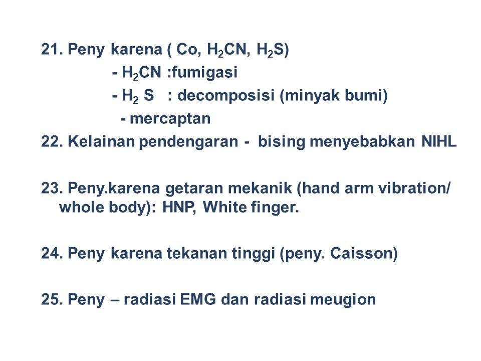 21. Peny karena ( Co, H 2 CN, H 2 S) - H 2 CN :fumigasi - H 2 S : decomposisi (minyak bumi) - mercaptan 22. Kelainan pendengaran - bising menyebabkan