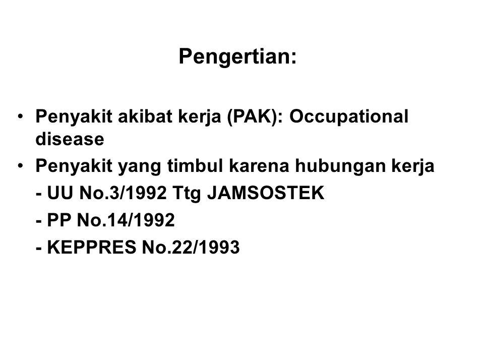Pengertian: Penyakit akibat kerja (PAK): Occupational disease Penyakit yang timbul karena hubungan kerja - UU No.3/1992 Ttg JAMSOSTEK - PP No.14/1992