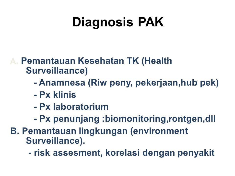 Diagnosis PAK A. Pemantauan Kesehatan TK (Health Surveillaance) - Anamnesa (Riw peny, pekerjaan,hub pek) - Px klinis - Px laboratorium - Px penunjang