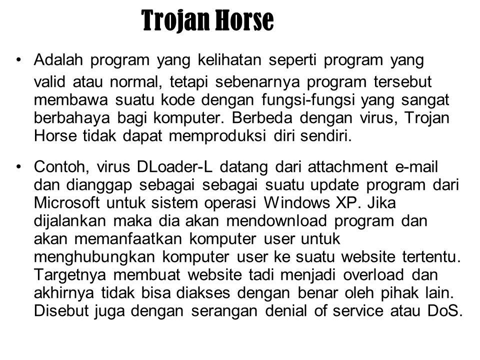 Trojan Horse Adalah program yang kelihatan seperti program yang valid atau normal, tetapi sebenarnya program tersebut membawa suatu kode dengan fungsi-fungsi yang sangat berbahaya bagi komputer.