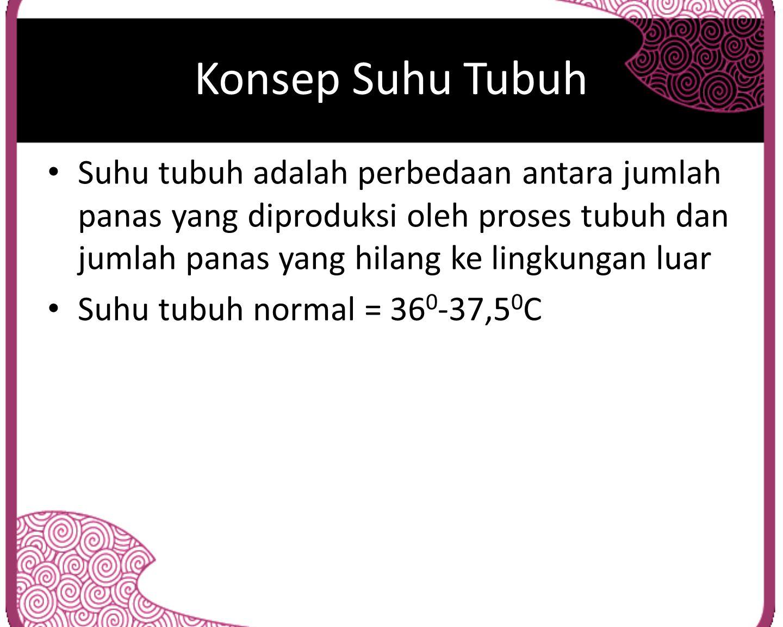 Konsep Suhu Tubuh Suhu tubuh adalah perbedaan antara jumlah panas yang diproduksi oleh proses tubuh dan jumlah panas yang hilang ke lingkungan luar Su