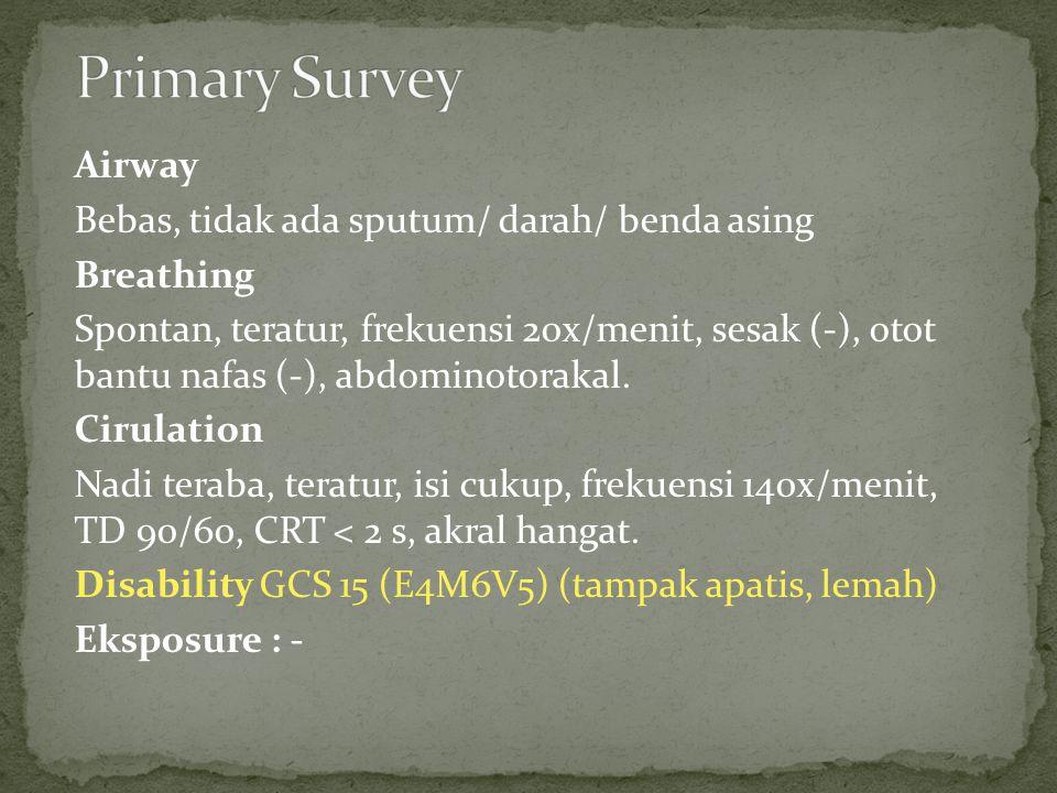 Airway Bebas, tidak ada sputum/ darah/ benda asing Breathing Spontan, teratur, frekuensi 20x/menit, sesak (-), otot bantu nafas (-), abdominotorakal.