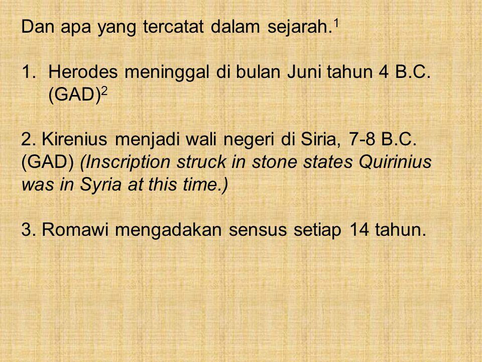 Dan apa yang tercatat dalam sejarah. 1 1.Herodes meninggal di bulan Juni tahun 4 B.C. (GAD) 2 2. Kirenius menjadi wali negeri di Siria, 7-8 B.C. (GAD)