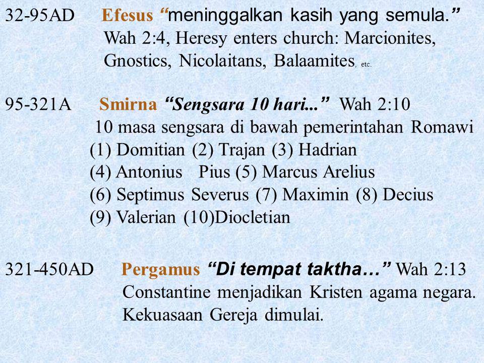 "32-95AD Efesus ""meninggalkan kasih yang semula."" Wah 2:4, Heresy enters church: Marcionites, Gnostics, Nicolaitans, Balaamites, etc. 95-321A Smirna """