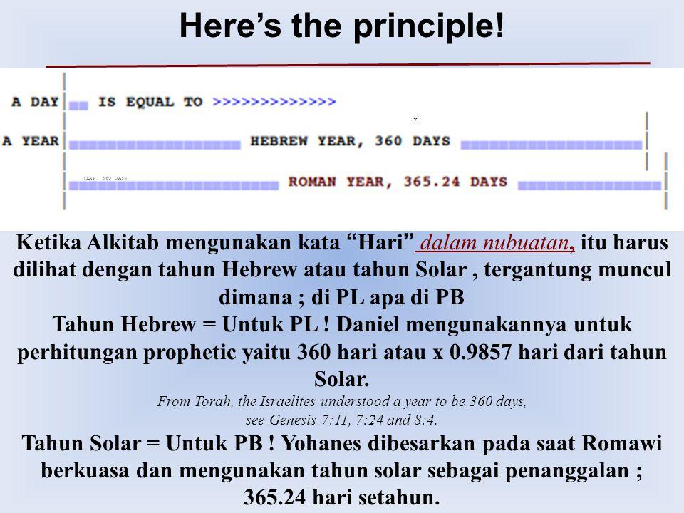 """* Ketika Alkitab mengunakan kata """" Hari """" dalam nubuatan, itu harus dilihat dengan tahun Hebrew atau tahun Solar, tergantung muncul dimana ; di PL apa"""