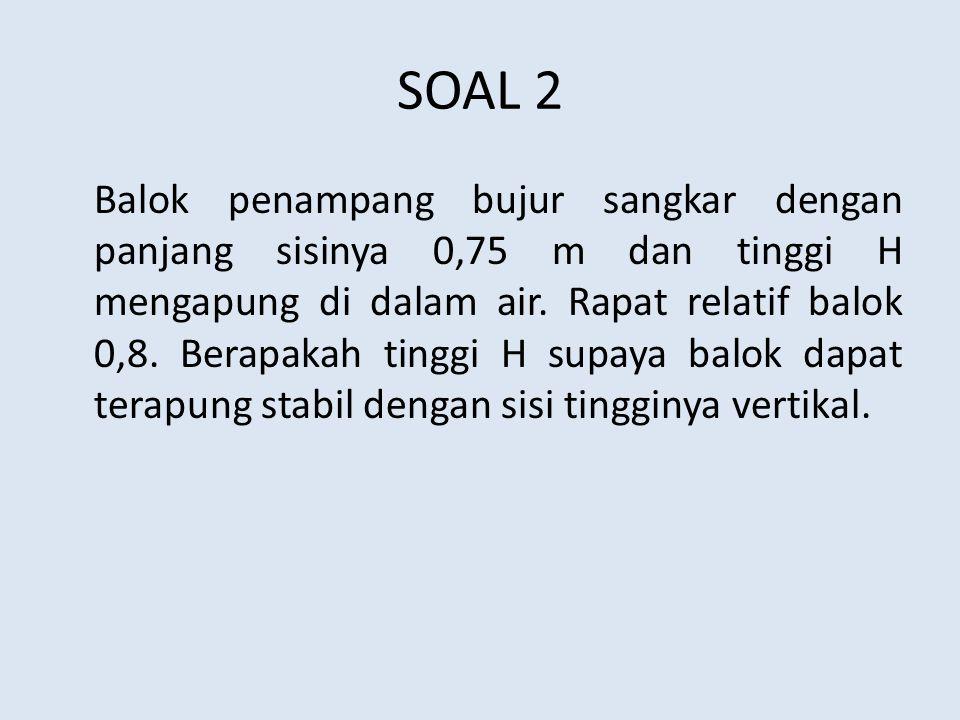 SOAL 2 Balok penampang bujur sangkar dengan panjang sisinya 0,75 m dan tinggi H mengapung di dalam air. Rapat relatif balok 0,8. Berapakah tinggi H su