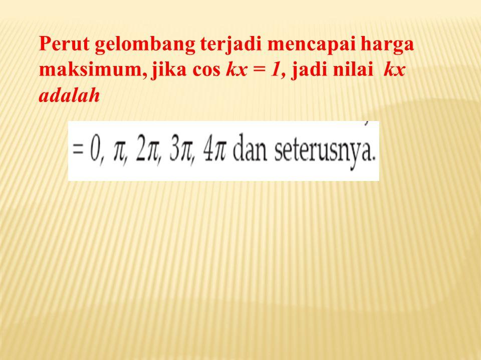 Perut gelombang terjadi mencapai harga maksimum, jika cos kx = 1, jadi nilai kx adalah