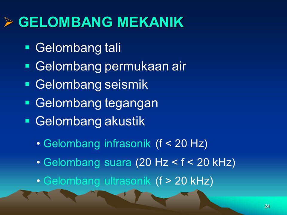 24  GELOMBANG MEKANIK  Gelombang tali  Gelombang permukaan air  Gelombang seismik  Gelombang tegangan  Gelombang akustik Gelombang infrasonik (f