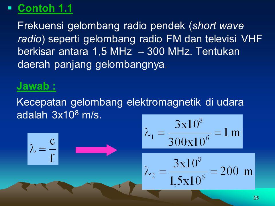 25  Contoh 1.1 Frekuensi gelombang radio pendek (short wave radio) seperti gelombang radio FM dan televisi VHF berkisar antara 1,5 MHz – 300 MHz. Ten