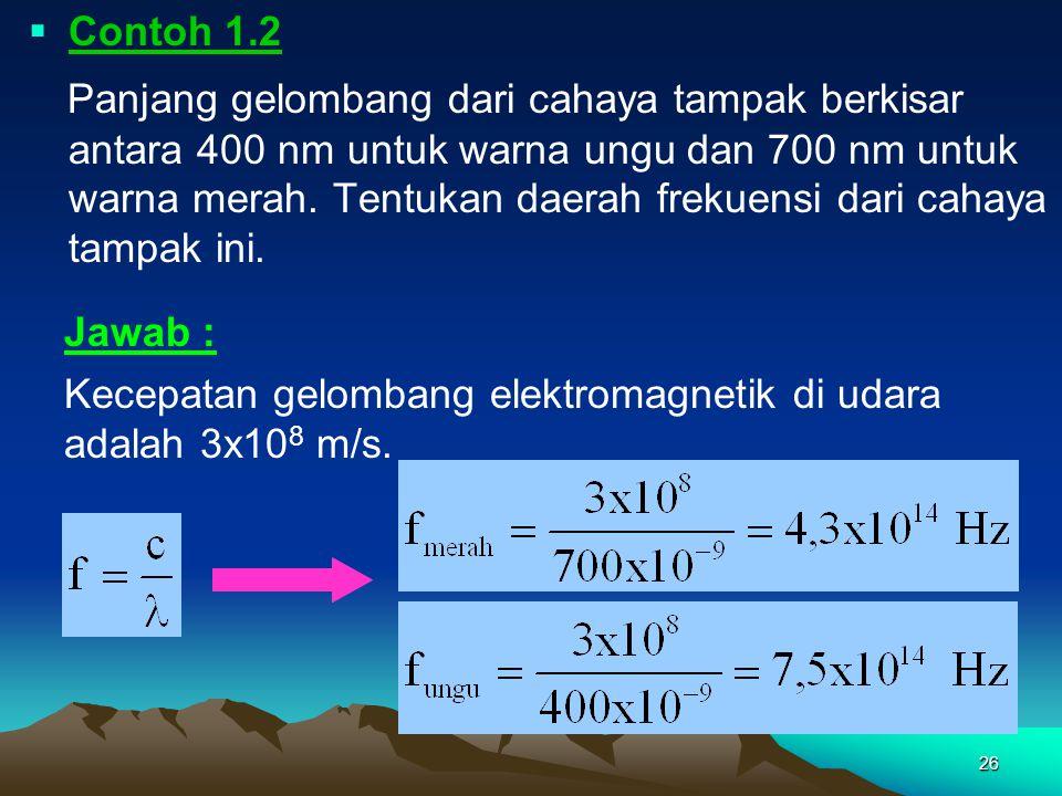 26  Contoh 1.2 Panjang gelombang dari cahaya tampak berkisar antara 400 nm untuk warna ungu dan 700 nm untuk warna merah. Tentukan daerah frekuensi d