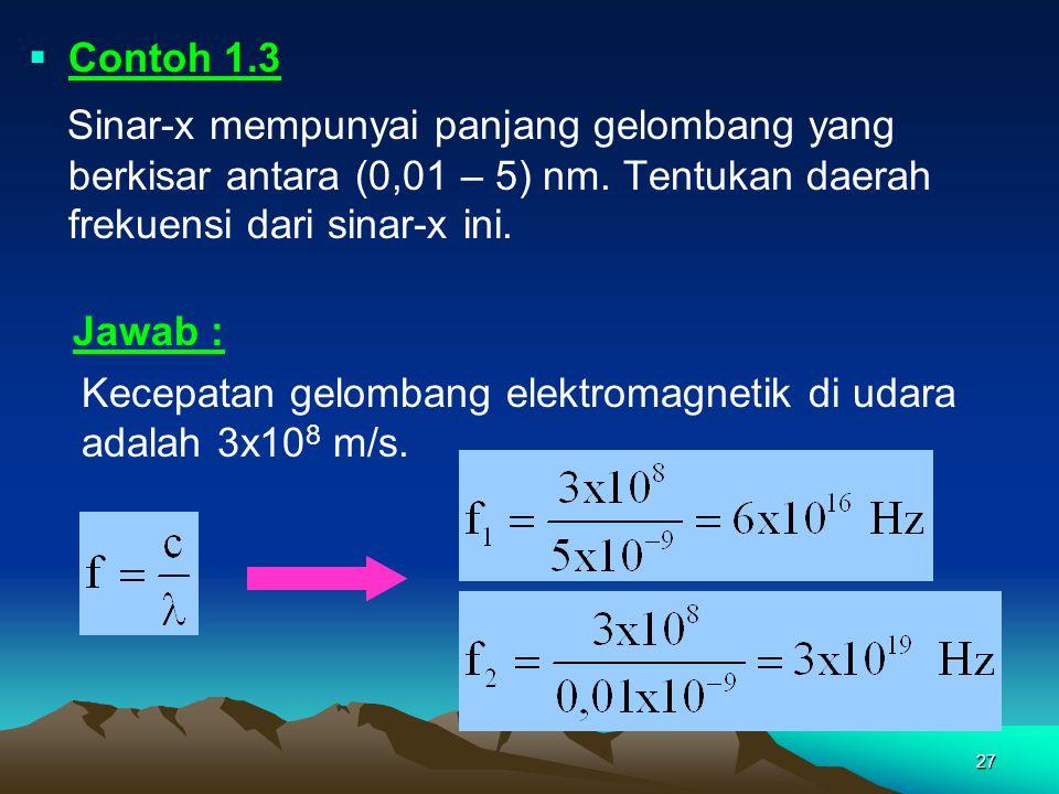 27  Contoh 1.3 Sinar-x mempunyai panjang gelombang yang berkisar antara (0,01 – 5) nm. Tentukan daerah frekuensi dari sinar-x ini. Kecepatan gelomban