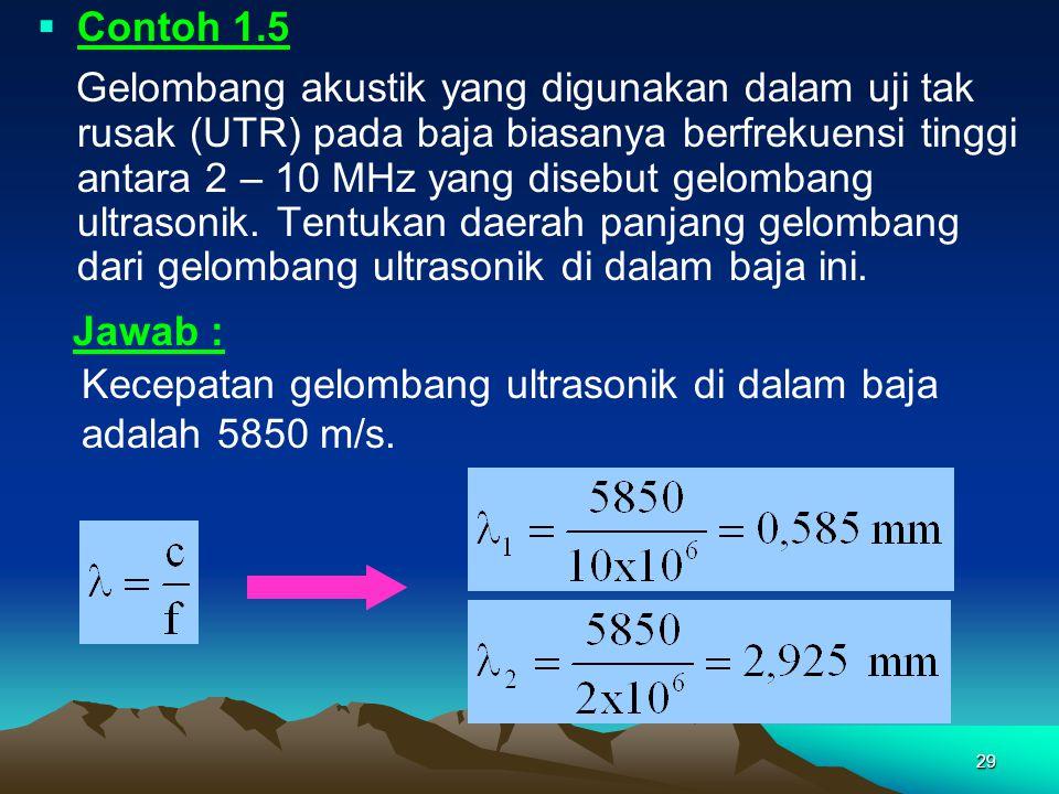 29  Contoh 1.5 Gelombang akustik yang digunakan dalam uji tak rusak (UTR) pada baja biasanya berfrekuensi tinggi antara 2 – 10 MHz yang disebut gelom