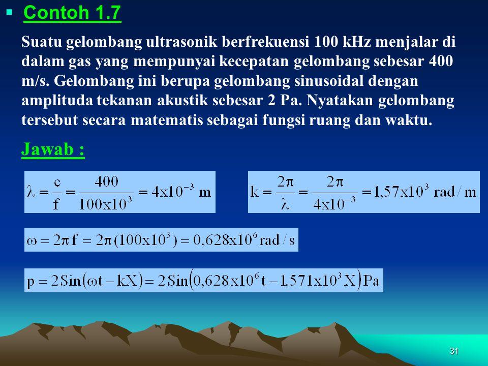 31  Contoh 1.7 Suatu gelombang ultrasonik berfrekuensi 100 kHz menjalar di dalam gas yang mempunyai kecepatan gelombang sebesar 400 m/s. Gelombang in