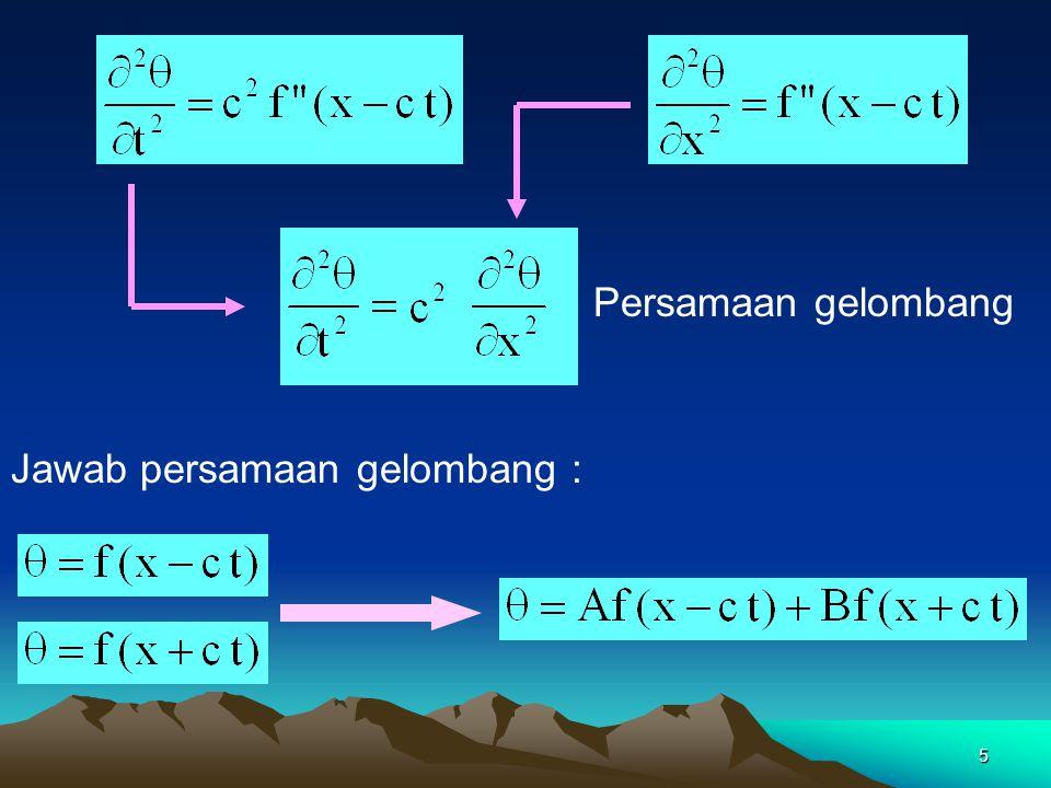 5 Persamaan gelombang Jawab persamaan gelombang :