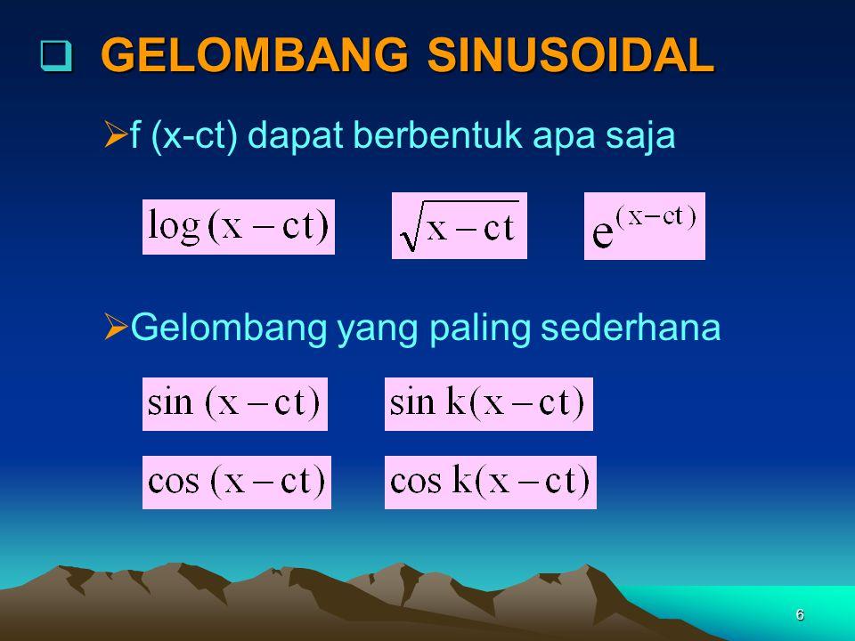 6  GELOMBANG SINUSOIDAL  f (x-ct) dapat berbentuk apa saja  Gelombang yang paling sederhana