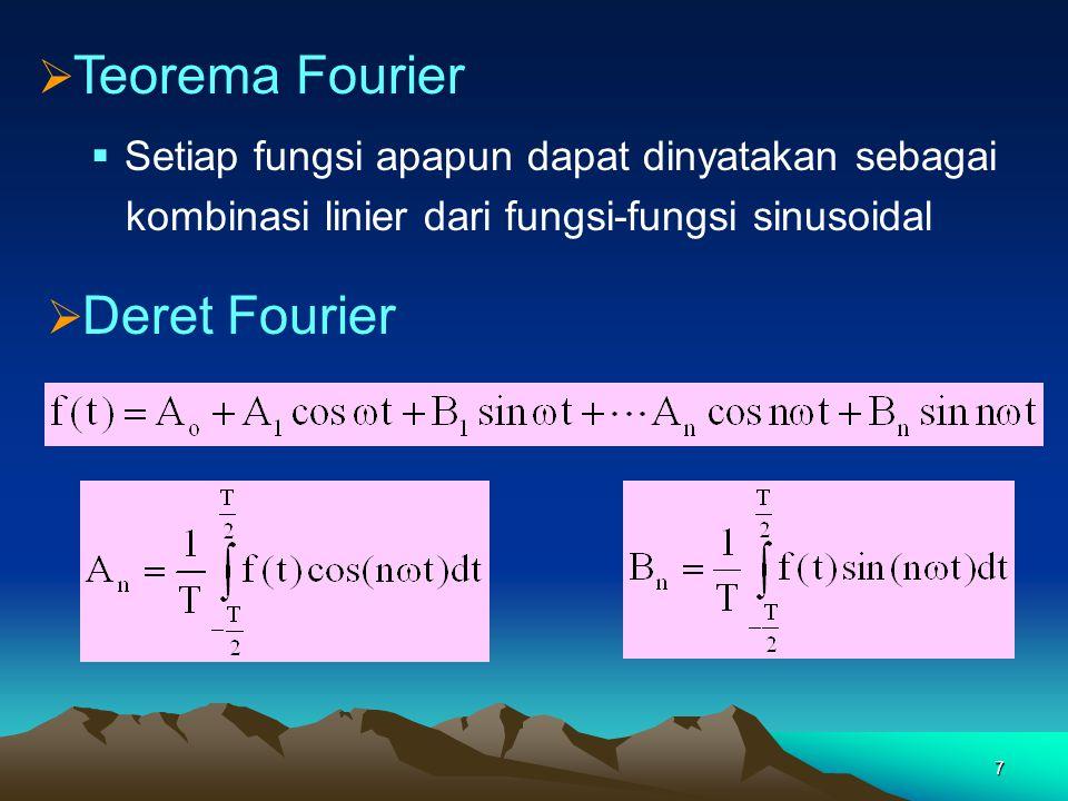 7  Setiap fungsi apapun dapat dinyatakan sebagai kombinasi linier dari fungsi-fungsi sinusoidal  Teorema Fourier  Deret Fourier