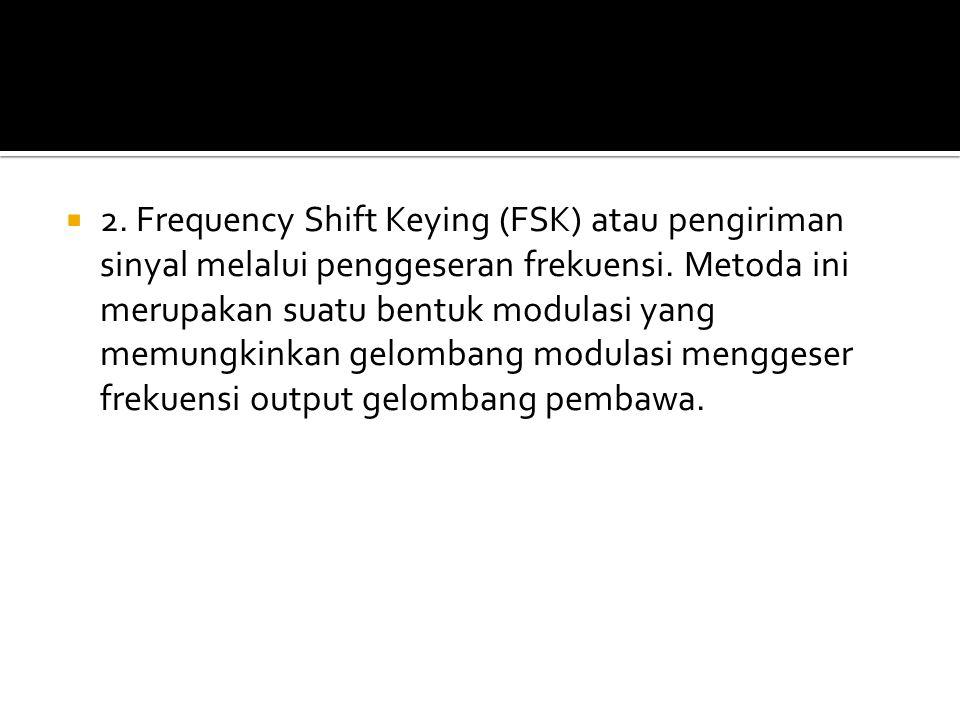  2. Frequency Shift Keying (FSK) atau pengiriman sinyal melalui penggeseran frekuensi. Metoda ini merupakan suatu bentuk modulasi yang memungkinkan g