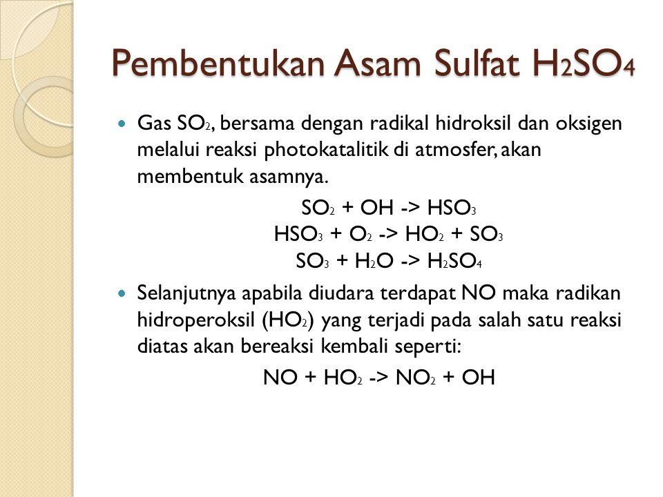 Pembentukan Asam Sulfat H 2 SO 4 Gas SO 2, bersama dengan radikal hidroksil dan oksigen melalui reaksi photokatalitik di atmosfer, akan membentuk asamnya.