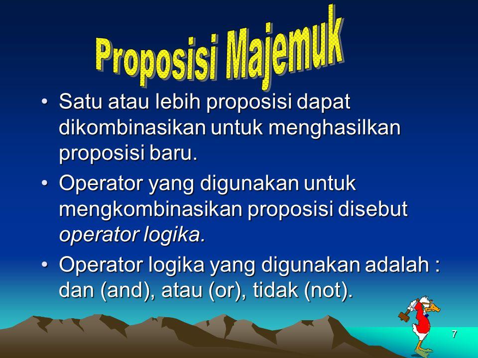 7 Satu atau lebih proposisi dapat dikombinasikan untuk menghasilkan proposisi baru.Satu atau lebih proposisi dapat dikombinasikan untuk menghasilkan p