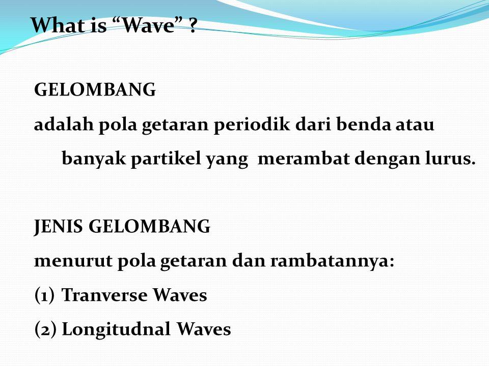 GELOMBANG adalah pola getaran periodik dari benda atau banyak partikel yang merambat dengan lurus.
