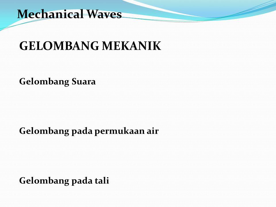 GELOMBANG MEKANIK Gelombang Suara Gelombang pada permukaan air Gelombang pada tali Mechanical Waves