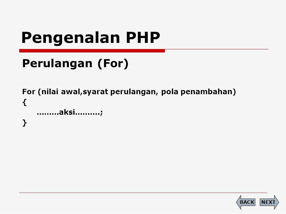Perulangan (For) For (nilai awal,syarat perulangan, pola penambahan) { ………aksi……….; } Pengenalan PHP NEXTBACK