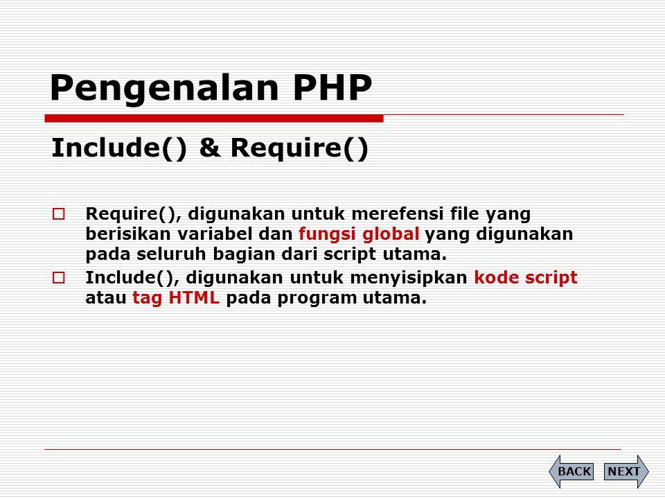 Include( filename ); Pengenalan PHP NEXTBACK Filename: index.php Test Include <?php include table.php ; ?> Filename: table.php <?php echo NIM NAMA 04102001 Baihaqi ; ?>