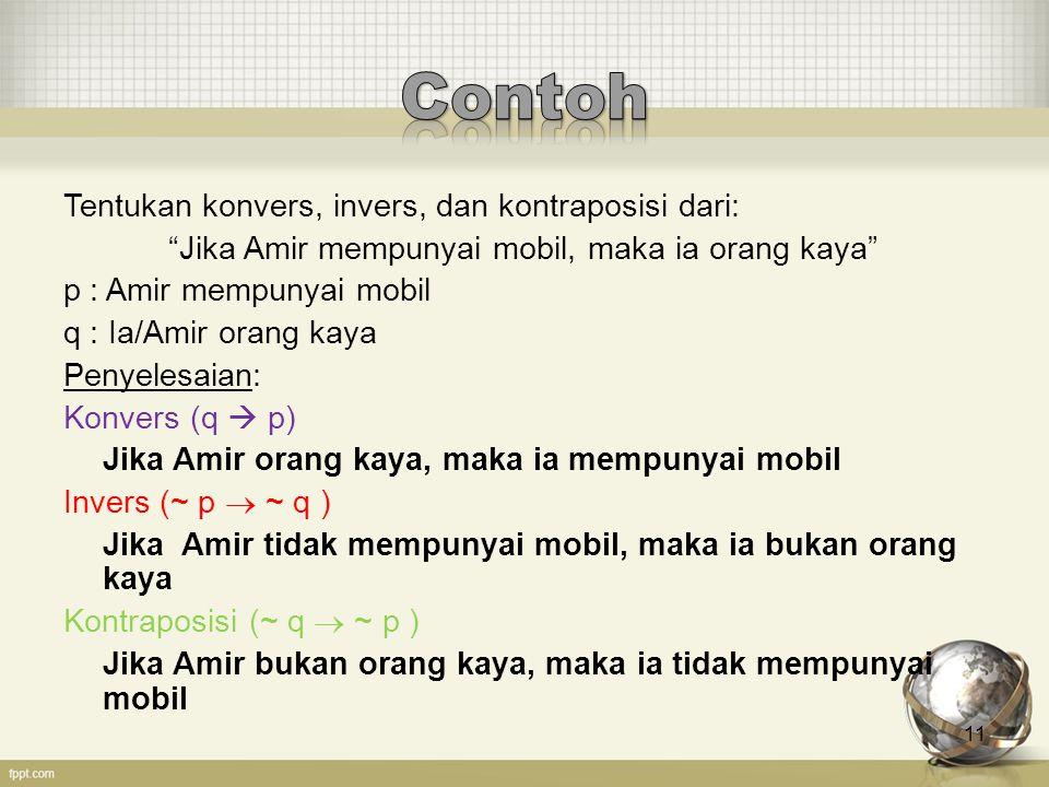 """11 Tentukan konvers, invers, dan kontraposisi dari: """"Jika Amir mempunyai mobil, maka ia orang kaya"""" p : Amir mempunyai mobil q : Ia/Amir orang kaya Pe"""