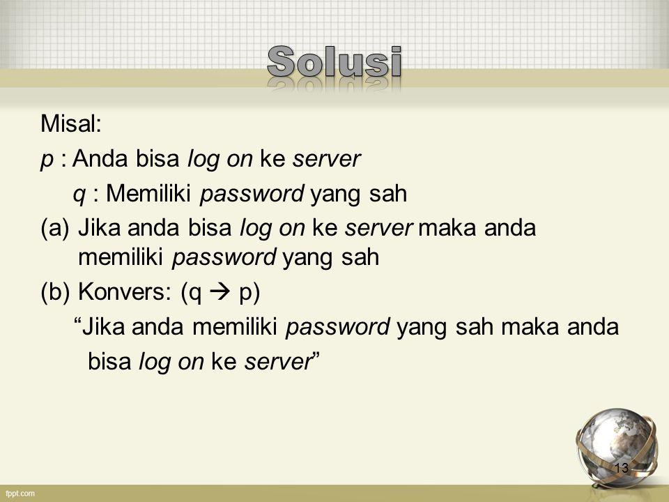 13 Misal: p : Anda bisa log on ke server q : Memiliki password yang sah (a)Jika anda bisa log on ke server maka anda memiliki password yang sah (b)Kon